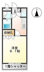 名鉄三河線 猿投駅 徒歩12分の賃貸アパート 1階1Kの間取り