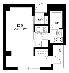東京メトロ丸ノ内線 中野坂上駅 徒歩14分の賃貸マンション 2階1Kの間取り