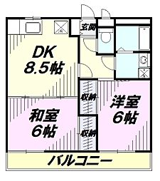JR青梅線 昭島駅 徒歩23分の賃貸マンション 1階2DKの間取り
