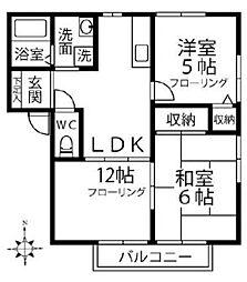 埼玉新都市交通 東宮原駅 徒歩8分の賃貸アパート 2階2LDKの間取り