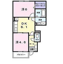JR羽越本線 中条駅 徒歩14分の賃貸アパート 1階2DKの間取り