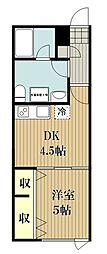西武池袋線 ひばりヶ丘駅 徒歩5分の賃貸マンション 2階1DKの間取り