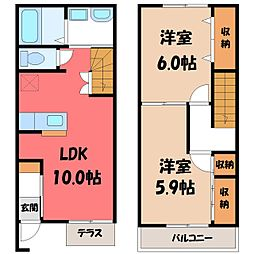 [テラスハウス] 栃木県真岡市高勢町2丁目 の賃貸【/】の間取り