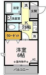 (仮)D-room国領町4丁目 2階1Kの間取り
