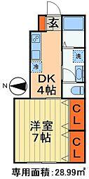 JR総武本線 都賀駅 徒歩5分の賃貸アパート 1階1Kの間取り