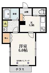 JR埼京線 赤羽駅 徒歩8分の賃貸マンション 1階1Kの間取り
