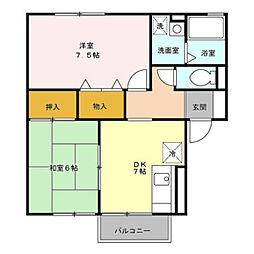 JR羽越本線 中条駅 徒歩32分の賃貸アパート 1階2DKの間取り