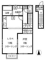 東京都小金井市桜町2丁目の賃貸アパートの間取り