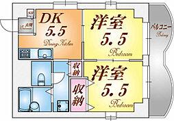 兵庫県神戸市須磨区白川台6丁目の賃貸マンションの間取り