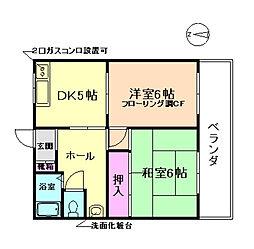 大阪府豊中市城山町3丁目の賃貸マンションの間取り