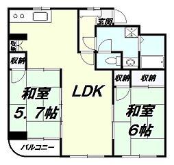 東京都八王子市南新町の賃貸マンションの間取り