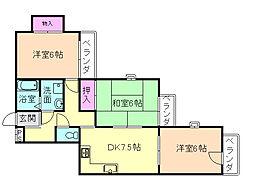 大阪府豊中市永楽荘3丁目の賃貸マンションの間取り
