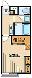 JR川越線 高麗川駅 徒歩19分の賃貸アパート 1階1Kの間取り