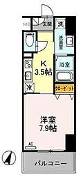 東武伊勢崎線 越谷駅 徒歩5分の賃貸マンション 7階1Kの間取り