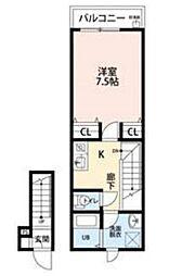 都営新宿線 船堀駅 徒歩7分の賃貸アパート 2階1Kの間取り