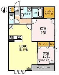 JR武蔵野線 吉川駅 徒歩4分の賃貸アパート 3階2LDKの間取り