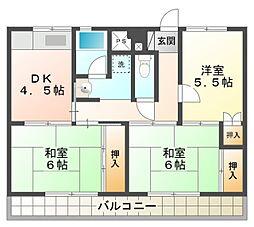 ビレッジハウス三好[1階]の間取り