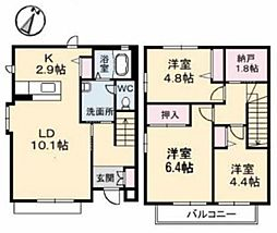 [タウンハウス] 岡山県倉敷市四十瀬 の賃貸【/】の間取り