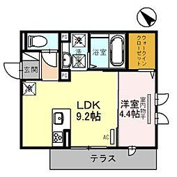 デンテ・ディ・レオーネ 1階1LDKの間取り