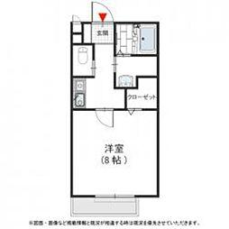 南海高野線 金剛駅 徒歩10分の賃貸アパート 2階1Kの間取り