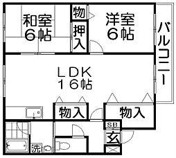 まるきマンション高柳[1階]の間取り