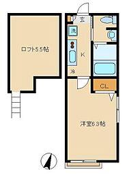 東急田園都市線 溝の口駅 徒歩10分の賃貸アパート 2階1Kの間取り