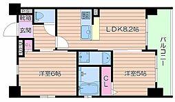 エステムプラザ梅田・中崎町IIIツインマークスSouth Res 13階2DKの間取り