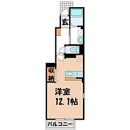 栃木県宇都宮市鶴田2丁目の賃貸アパートの間取り