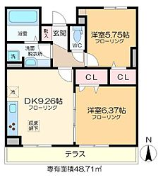 仮称D-room六町SU 1階2DKの間取り