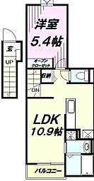 多摩都市モノレール 泉体育館駅 徒歩14分の賃貸アパート 2階1LDKの間取り