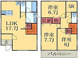 京成本線 京成臼井駅 徒歩34分の賃貸一戸建て 2階3SLDKの間取り