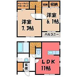 [一戸建] 栃木県小山市乙女1丁目 の賃貸【/】の間取り