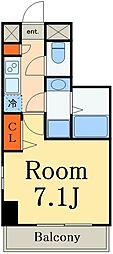 JR総武本線 市川駅 徒歩7分の賃貸マンション 6階1Kの間取り