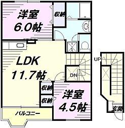 JR青梅線 牛浜駅 徒歩7分の賃貸アパート 2階2LDKの間取り