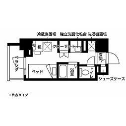 小田急多摩線 小田急多摩センター駅 徒歩10分の賃貸マンション 5階ワンルームの間取り