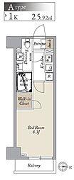 都営大江戸線 両国駅 徒歩8分の賃貸マンション 4階1Kの間取り