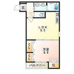 Osaka Metro四つ橋線 北加賀屋駅 徒歩4分の賃貸アパート 1階1LDKの間取り