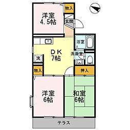 神奈川県相模原市南区新磯野4丁目の賃貸アパートの間取り
