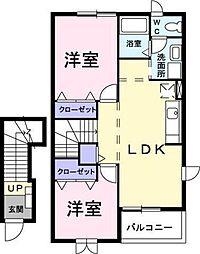 埼玉県草加市新栄3丁目の賃貸アパートの間取り