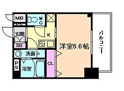 JR東西線 海老江駅 徒歩8分の賃貸マンション 6階1Kの間取り