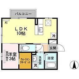 エスポワール前田 B 1階1LDKの間取り