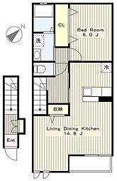 神奈川県相模原市中央区水郷田名1丁目の賃貸アパートの間取り
