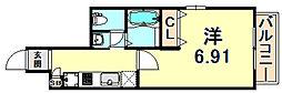 阪急神戸本線 春日野道駅 徒歩1分の賃貸マンション 5階1Kの間取り