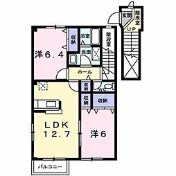 愛知県豊橋市西幸町字古並の賃貸アパートの間取り