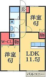 千葉県千葉市緑区おゆみ野中央2丁目の賃貸アパートの間取り