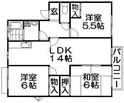 ビクトアール江角[1階]の間取り