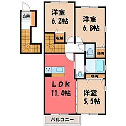 栃木県宇都宮市越戸2丁目の賃貸アパートの間取り