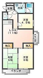 愛知県豊橋市大村町字橋元の賃貸アパートの間取り