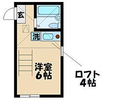 JR横須賀線 新川崎駅 徒歩13分の賃貸アパート 2階ワンルームの間取り