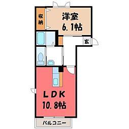 栃木県下野市下石橋の賃貸アパートの間取り
